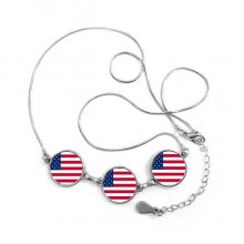 USA National Flag North America Country Symbol Mark Pattern Round Shape Pendant Necklace