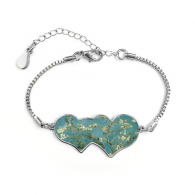 apricot blossom Vincent Willem van Gogh Famous Oil Schools of Impressionism Panintings Oils Double Hearts Shape Round-Cut Cubic Chain Bracelet Love Gifts