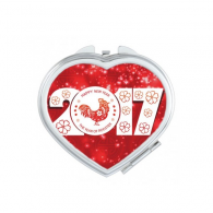 Happy New Year 2017 Year of the Rooster Chinese Zodiac Sign Pattern Illustration Heart Compact Makeup Pocket Mirror Portable Cute Small Hand Mirrors