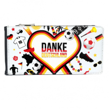 Germany Football Flag Clothing Culture Illustration Pattern Multi-Card Faux Leather Rectangle Wallet Card Purse