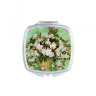 White rose Vincent Willem van Gogh famous oil paintings impressionist school Square Compact Makeup Pocket Mirror Portable Cute Small Hand Mirrors