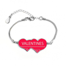 Happy Valentine's Day Just For You Pink Heart Crossing Arrows Banner Illustration Pattern Double Hearts Shape Round-Cut Cubic Chain Bracelet Love Gifts