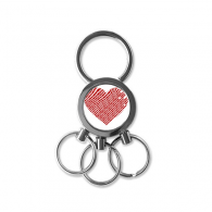 Valentine's Day Heart Shaped Red Stripe Illustration Pattern Metal Key Chain Ring Car Keychain Creative Trinket Keyring Novelty Item Best Charm Gift