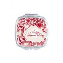 Happy Valentine's Day Cute Red Hearts Illustration Pattern Square Compact Makeup Pocket Mirror Portable Cute Small Hand Mirrors