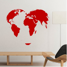 Celebrate Valentine's Day Heart Shaped Red World Map Illustration Pattern Removable Wall Sticker Art Decals Mural DIY Wallpaper for Room Decal