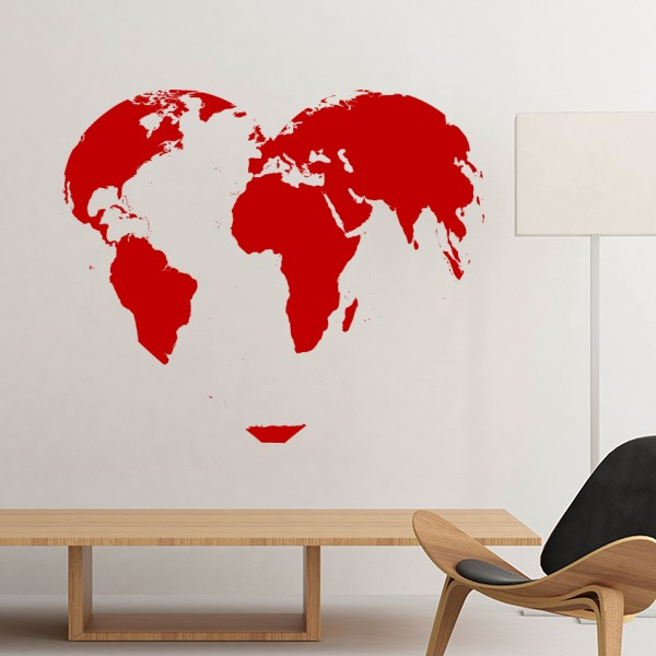 Celebrate valentines day heart shaped red world map illustration celebrate valentines day heart shaped red world map illustration pattern removable wall sticker art decals mural diy wallpaper for room decal gumiabroncs Image collections