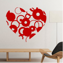Valentine's Day Heart Shaped Red Circles Illustration Pattern Removable Wall Sticker Art Decals Mural DIY Wallpaper for Room Decal