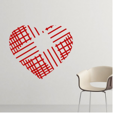 Valentine's Day Heart Shaped Red Crossing Lines Illustration Pattern Removable Wall Sticker Art Decals Mural DIY Wallpaper for Room Decal