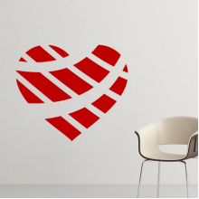 Valentine's Day Heart Shaped Red Wheel Printing Illustration Pattern Removable Wall Sticker Art Decals Mural DIY Wallpaper for Room Decal