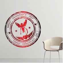 Happy Valentine's Day Red Black Seal Angel Arrow Heart Wings Stars Round Illustration Pattern Removable Wall Sticker Art Decals Mural DIY Wallpaper for Room Decal