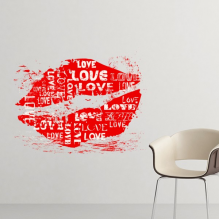 CelebrateRed Lip-based Valentine's Day  White Keyword Love Image Illustration Pattern Removable Wall Sticker Art Decals Mural DIY Wallpaper for Room Decal