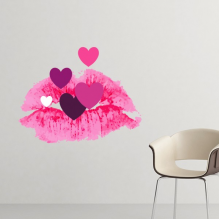 Celebrate Valentine's Day Pink Lip-Shaped-Based Colorful Hearts Illustration Pattern Removable Wall Sticker Art Decals Mural DIY Wallpaper for Room Decal