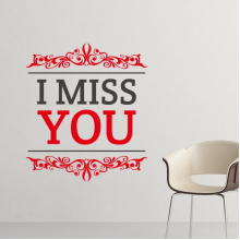 Celebrate Valentine's Day Red and Black I Miss You Image with Curves Illustration Pattern Removable Wall Sticker Art Decals Mural DIY Wallpaper for Room Decal