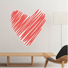 Celebrate Valentine's Day Heart Shaped Red One-line Dense Sketch Illustration Pattern Removable Wall Sticker Art Decals Mural DIY Wallpaper for Room Decal