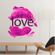Celebrate Valentine's Day Pink Lip-Shaped-Based Love Image Illustration Pattern Removable Wall Sticker Art Decals Mural DIY Wallpaper for Room Decal