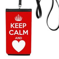 Quote Keep Calm And Love Red White Crown Heart Funny Illustration Pattern Faux Leather Smartphone Hanging Purse Black Phone Wallet