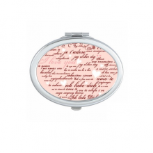 Valentine's Day Pink White Heart Shaped I Love You Hearts Illustration Pattern Oval Compact Makeup Pocket Mirror Portable Cute Small Hand Mirrors