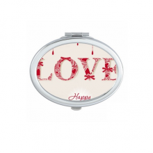 Happy Valentine's Day Red White Love Drip Illustration Pattern Oval Compact Makeup Pocket Mirror Portable Cute Small Hand Mirrors