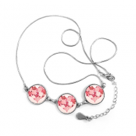 Valentine's Day Pink Heart Shaped Roses Leaves Illustration Pattern Round Shape Pendant Necklace Jewelry With Chain Decoration