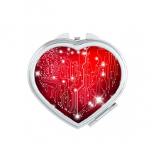 Valentine's Day Black Red Heart Shaped Circuit Board White Stars Illustration Pattern Heart Compact Makeup Pocket Mirror Portable Cute Small Hand Mirrors