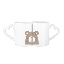 Simplicity Style Chubby Bear Cute Animal Illustration Lovers' Mug Lover Mugs Set White Pottery Ceramic Cup Milk Coffee Cup with Handles