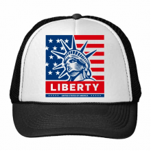 America Flag With Liberty Statue Pattern Illustration Trucker Hat Baseball Cap Nylon Mesh Hat Cool Children Hat Adjustable Cap