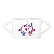 America Flag Landmark Statue Liberty Pattern Independence Day Celebration Lovers' Mug Lover Mugs Set White Pottery Ceramic Cup Milk Coffee Cup with Handles