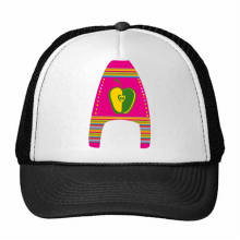A Alphabet Apple Fruit Cute Interesting Funny Illustration Pattern Trucker Hat Baseball Cap Nylon Mesh Hat Cool Children Hat Adjustable Cap