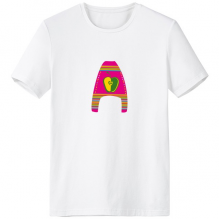 A Alphabet Apple Fruit Cute Interesting Funny Illustration Pattern Crew-Neck White T-shirt Spring and Summer Tagless Comfort Cotton Sports T-shirts