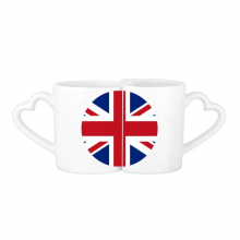 UK National Flag Europe Country Symbol Mark Round Pattern Lovers' Mug Lover Mugs Set White Pottery Ceramic Cup Milk Coffee Cup with Handles