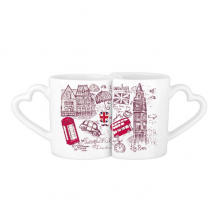 Big Ben Bus UK England Landmark Flag Sketch Illustration Lovers' Mug Lover Mugs Set White Pottery Ceramic Cup Milk Coffee Cup with Handles