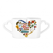 Cuba Love Heart Landscape Customs Landmark Animals National Flag Resident Diet Illustration Pattern Lovers' Mug Lover Mugs Set White Pottery Ceramic Cup Milk Coffee Cup with Handles