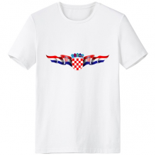 Croatia National Emblem Country Symbol Mark Pattern Crew-Neck White T-shirt Spring and Summer Tagless Comfort Cotton Sports T-shirts
