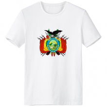 Bolivia National Emblem Country Symbol Mark Pattern Crew-Neck White T-shirt Spring and Summer Tagless Comfort Cotton Sports T-shirts