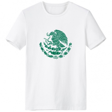 Mexico National Emblem Country Symbol Mark Pattern Crew-Neck White T-shirt Spring and Summer Tagless Comfort Cotton Sports T-shirts