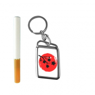 Japanese Style Japan Culture National Flag Red Black Branch Sakura Abstract Brush Painting Illustration Pattern Cigarette Lighter USB Electric Arc Metal Flameless Rechargeable Windproof Lighter Elegant Gift Box