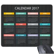 2017 Calendar New Year Kalendar Wood Grain Rectangle Non-Slip Rubber Mousepad Game Mouse Pad