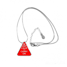 Quote Keep Calm And Carry On Red White British Royal Crown War Peace Poster Illustration Pattern Triangle Shape Pendant Necklace Jewelry With Chain Decoration