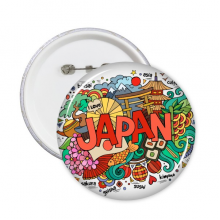 I Love Japan Asia Culture Colorful Cute Sakura Bonsai Geisha Sushi Hand-decorated Art Illustration Pattern Round Pins Badge Button Clothing Decoration 5pcs