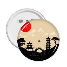 Japan Black White Red Yellow Temple Bridge Tower Architecture Pine Fuji Sun Landmark Silhouette Art Illustration Pattern Round Pins Badge Button Clothing Decoration 5pcs