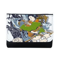 Japan Traditional Culture Colorful Kimono Woman Samurai Sword Wave Art Japanese Style Illustration Multi-Function Faux Leather Wallet Card Purse
