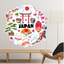Japan Culture Cute Japanese Style Watercolor National Flag Lucky Cat Sakura Sushi Chopsticks Carp Archway Lantern Illustration Removable Wall Sticker Art Decals Mural DIY Wallpaper for Room Decal