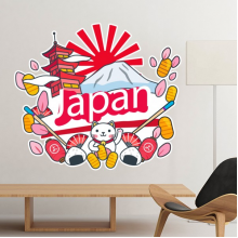 Japan Culture Cute Colorful Temple Lucky Cat Fan Sakura Petal Sushi Fuji Lantern Hand-decorated Illustration Pattern Removable Wall Sticker Art Decals Mural DIY Wallpaper for Room Decal
