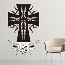 Religion Christianity Belief Church Black Holy Cross Gothic Culture Design Art Illustration Pattern Removable Wall Sticker Art Decals Mural DIY Wallpaper for Room Decal