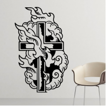 Religion Christianity Church Belief Black Holy Cross Fire Culture Design Art Illustration Pattern Silhouette  Removable Wall Sticker Art Decals Mural DIY Wallpaper for Room Decal