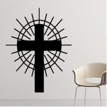 Religion Belief Christianity Church Black Circle Holy Cross Culture Design Art Illustration Pattern Silhouette  Removable Wall Sticker Art Decals Mural DIY Wallpaper for Room Decal