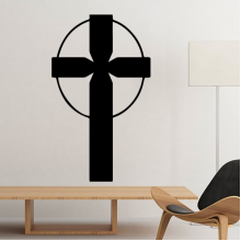 Religion Christianity Belief Church Black Circle Holy Cross Culture Design Art Illustration Pattern Silhouette Removable Wall Sticker Art Decals Mural DIY Wallpaper for Room Decal