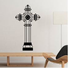 Religion Christianity Belief Church Black Holy Cross Pillar Culture Design Art Illustration Pattern Silhouette Removable Wall Sticker Art Decals Mural DIY Wallpaper for Room Decal