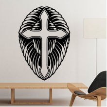 Religion Culture Christianity Belief Church Black Holy Cross Design Art Illustration Pattern Silhouette Removable Wall Sticker Art Decals Mural DIY Wallpaper for Room Decal