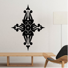 Religion Christianity Belief Church Black Holy Cross Culture Design Gothic Art Illustration Pattern Silhouette Removable Wall Sticker Art Decals Mural DIY Wallpaper for Room Decal